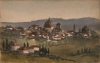 Tuke Sainsbury, Maria (1861-1947): Italian Town (Florence), signed, inscribed Watercolour by Maria Tuke (sister of Henry Scott Tuke) in scrapbook of Mrs Marshall, Chithurst, watercolour, 25.2 x 17.7 cms. RCPS Tuke Collection. Loan.