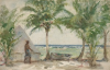 Tuke, Henry Scott, RA RWS (1858-1929): Robbie's Tent, Tobacco Cay, signed and dated 1924, watercolour, 14 x 21.5 cms. RCPS Tuke Collection. Loan.