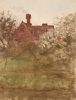 Tuke, Henry Scott, RA RWS (1858-1929): The Abbey House, Chithurst, watercolour, 23.3 x 17.5 cms. RCPS Tuke Collection. Loan.