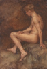 Tuke, Henry Scott, RA RWS (1858-1929): Nude Seated in a Cave, signed and dated 1909, watercolour, 26.3 x 18 cms. RCPS Tuke Collection. Loan.