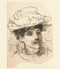 Tuke, Henry Scott, RA RWS (1858-1929): Portrait of a Lady, pen and ink on paper, 12.5 x 8.6 cms. RCPS Tuke Collection. Loan.