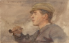 Tuke, Henry Scott, RA RWS (1858-1929): Portrait of a Young Man with a Cap and Pipe, signed and dated 1899, watercolour, 13.7 x 21.5 cms. RCPS Tuke Collection. Loan.