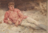 Tuke, Henry Scott, RA RWS (1858-1929): Boy in a Red Shirt, signed and dated 1914, inscribed H.S.Tuke 1914, watercolour, 13.7 x 19.5 cms. RCPS Tuke Collection. Loan.