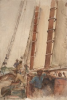 Tuke, Henry Scott, RA RWS (1858-1929): On the Schooner W.W, watercolour, 26 x 17.8 cms. RCPS Tuke Collection. Loan.
