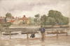 Tuke, Henry Scott, RA RWS (1858-1929): Thames at Windsor, watercolour, 18 x 26 cms. RCPS Tuke Collection. Loan.