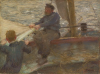 Tuke, Henry Scott, RA RWS (1858-1929): Sketch for Reefing the Mainsail, R386, signed, inscribed TUKE, Raffaelli oil sticks on panel, 26.6 x 36 cms. RCPS Tuke Collection. Loan.
