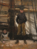 Tuke, Henry Scott, RA RWS (1858-1929): Two Children on Deck, oil on wood panel, 35 x 26.6 cms. RCPS Tuke Collection. Loan.