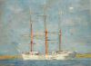 Tuke, Henry Scott, RA RWS (1858-1929): White Barque, R558, oil on canvas laid down on board, 36 x 48.4 cms. RCPS Tuke Collection. Loan.