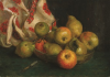 Tuke, Henry Scott, RA RWS (1858-1929): Dish of Fruit with Cloth, oil on board, 27.5 x 28.5 cms. RCPS Tuke Collection. Loan.