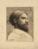 Tuke, Henry Scott, RA RWS (1858-1929): Willy Tuke, dated 1878, inscribed H. S. Tuke 1878, etching, 18 x 14 cms. RCPS Tuke Collection. Loan.
