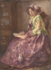 Tuke, Henry Scott, RA RWS (1858-1929): Lady in Period Costume, signed and dated 1922, inscribed H. S. Tuke 1922, watercolour, 35.4 x 25.4 cms. RCPS Tuke Collection. Loan.