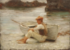 Tuke, Henry Scott, RA RWS (1858-1929): Boy and Boat, oil on panel, 33 x 24 cms. RCPS Tuke Collection. Loan.