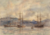 Tuke, Henry Scott, RA RWS (1858-1929): Ships in Falmouth Harbour, watercolour, 18 x 25 cms. RCPS Tuke Collection. Loan.