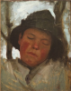 Tuke, Henry Scott, RA RWS (1858-1929): Boy Asleep in a Sou'wester, oil on wood panel, 31.5 x 21.5 cms. RCPS Tuke Collection. Loan.