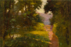 Richardson, John Thomas (1860-1942): Sunlit path, Marlborough, signed and dated 1914, oil on canvas, 30 x 45 cms. Presented by Tonkin, John and Valentine. Donation.
