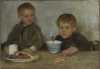 Tuke, Henry Scott, RA RWS (1858-1929): Georgie and Richard Fouracre, oil on canvas, 37 x 51.5. On loan from Philip G. Brown.