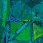 Frost, Anthony : (Green) Off beat harmony (glued together), signed and dated 1990, acrylic on nylon, rope and canvas, 76 x 76 cms. Presented by Pye, Brenda. Bequest.