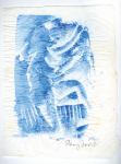 Frost, Sir Terry RA (1915-2003): Untitled (blue), signed, watercolour monoprint on japanese paper, 25 x 19 cms. Presented by Pye, Brenda. Bequest.