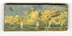 Miners, Neil: Seascape with five boats, signed, oil on board, 3.2 x 7.5 cms. Presented by Pye, Brenda. Bequest.