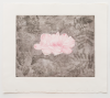 Irwin, Bernard, Smith, Jesse Leroy: Dark flowering, signed and dated 2016, hard and soft ground etching with spit bite and hand colouring (4 of an edition of 25), 56.5 x 66.5 cms.