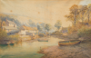 Boase Smith, William J. (1842-1896): Helford afternoon, watercolour, 65 x 104 cms.