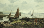 Hemy, Charles Napier RA RWS (1841-1917): A Rocky Shore, signed and dated 1878, oil on canvas, 50.5 x 76.5 cms. Purchased with help from generous donations from local supporters.